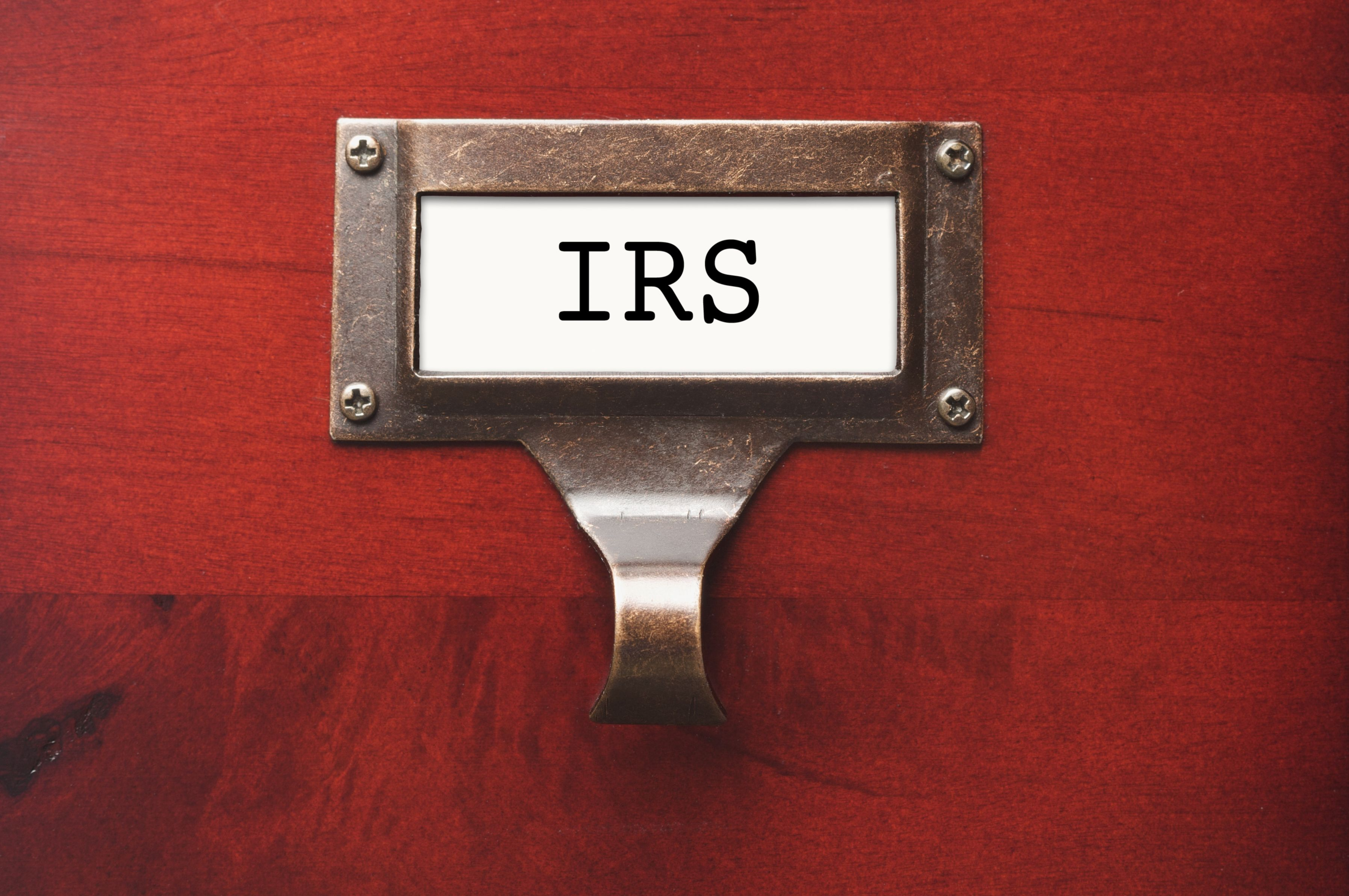 IRS label on file cabinet